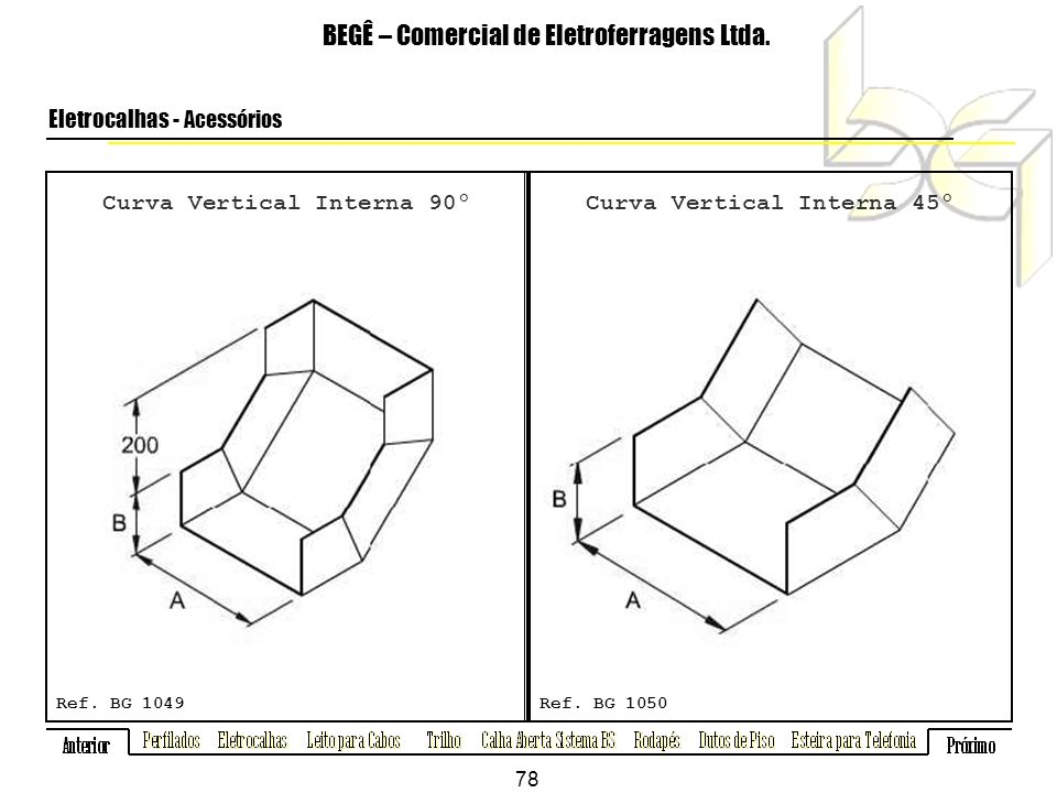 Curva Vertical Interna 90º Curva Vertical Interna 45º