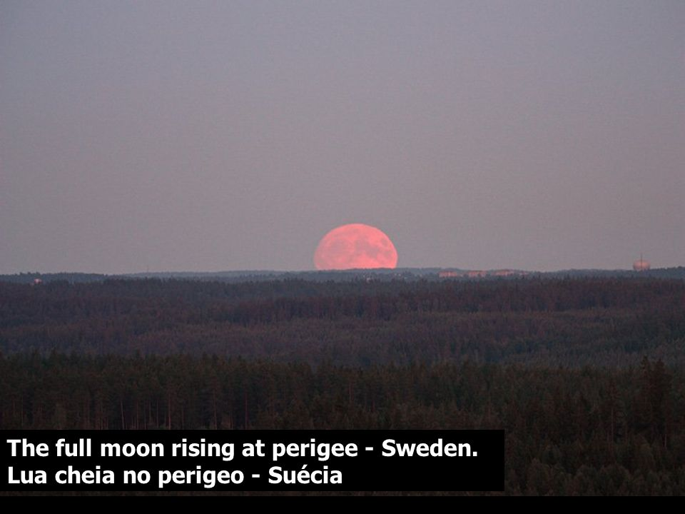 The full moon rising at perigee - Sweden. Lua cheia no perigeo - Suécia