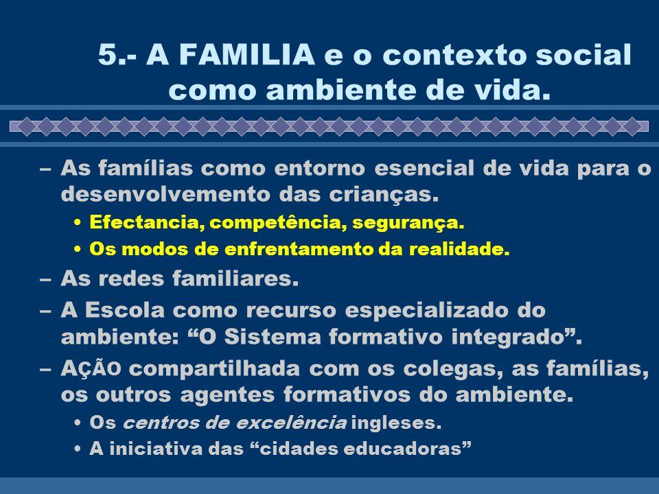 5.- A FAMILIA e o contexto social como ambiente de vida.