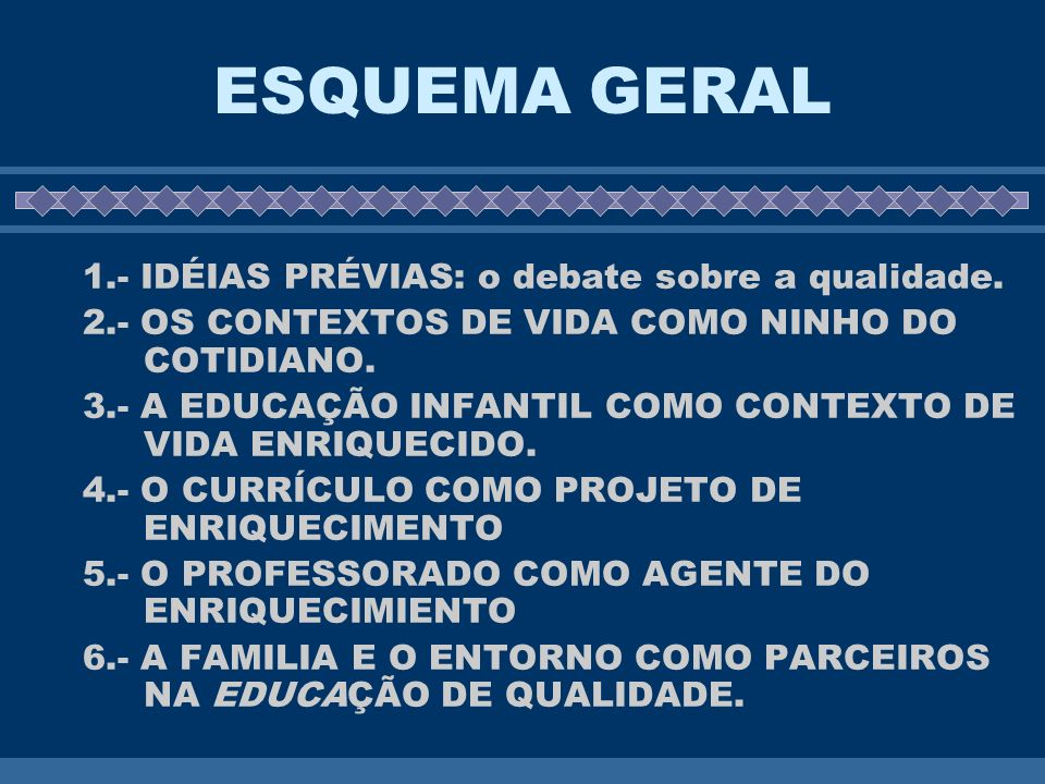 ESQUEMA GERAL 1.- IDÉIAS PRÉVIAS: o debate sobre a qualidade.