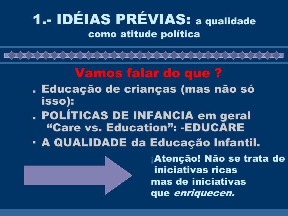 1.- IDÉIAS PRÉVIAS: a qualidade como atitude política