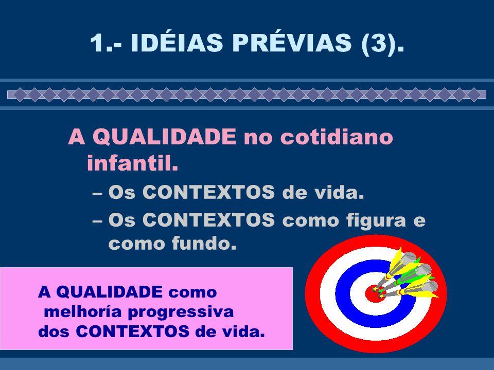 1.- IDÉIAS PRÉVIAS (3). A QUALIDADE no cotidiano infantil.