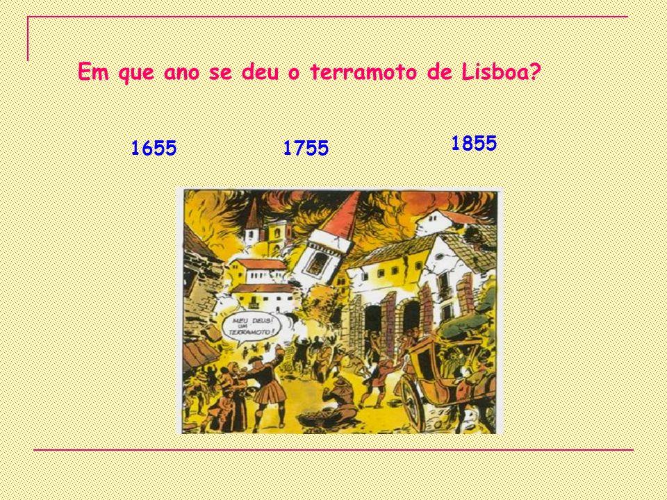 Em que ano se deu o terramoto de Lisboa