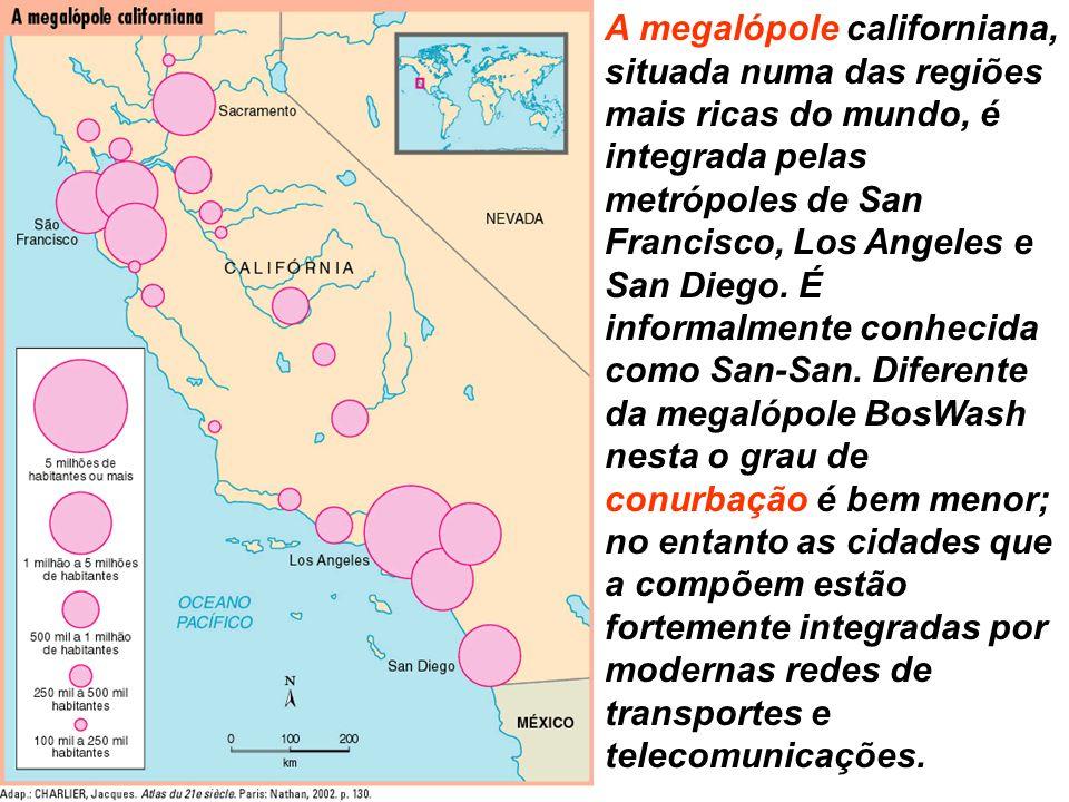 A megalópole californiana, situada numa das regiões mais ricas do mundo, é integrada pelas metrópoles de San Francisco, Los Angeles e San Diego.