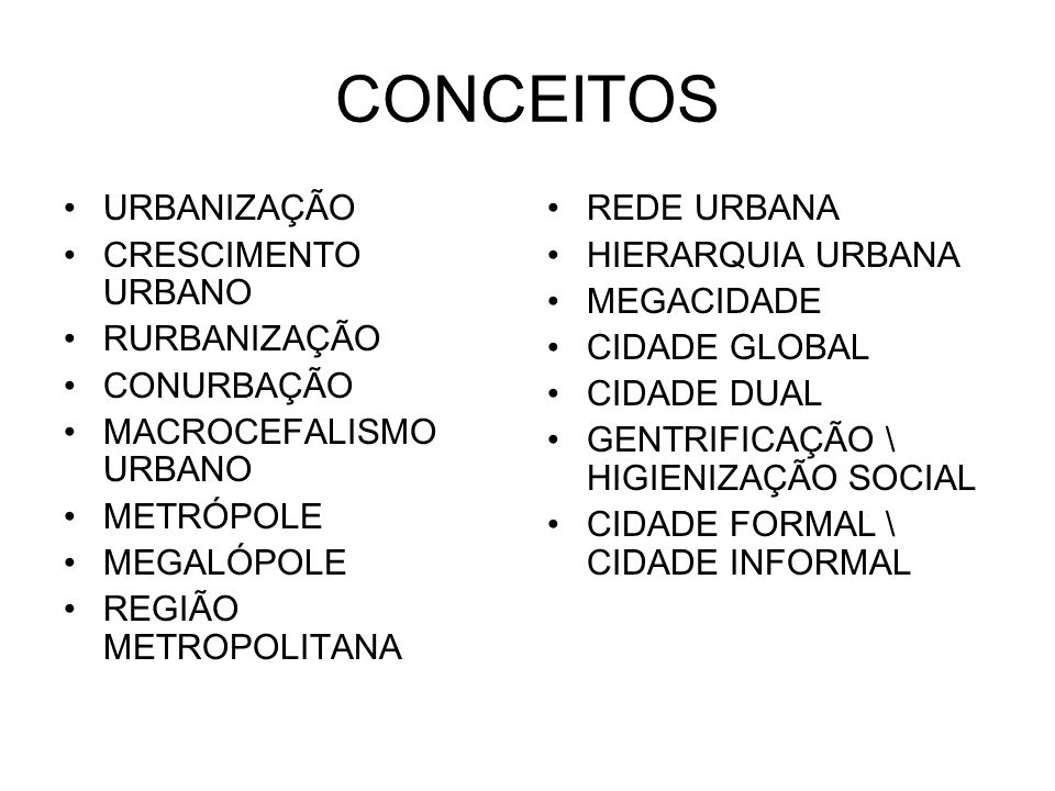 CONCEITOS URBANIZAÇÃO CRESCIMENTO URBANO RURBANIZAÇÃO CONURBAÇÃO