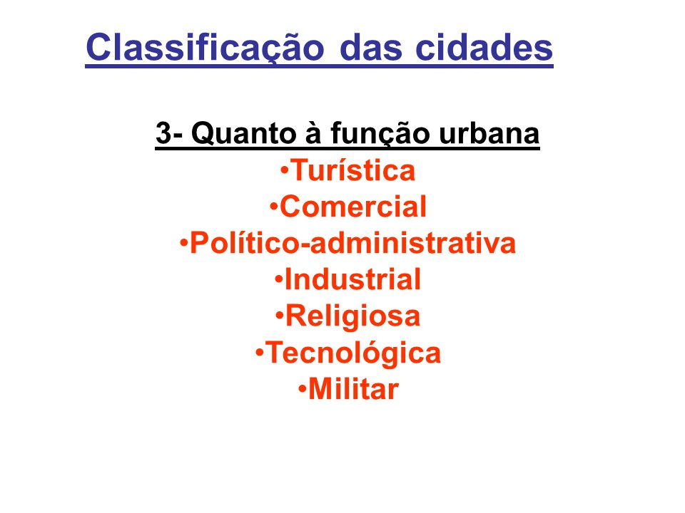 3- Quanto à função urbana Político-administrativa