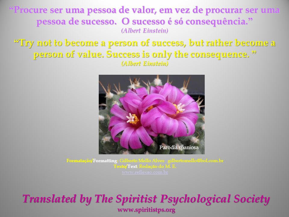 Translated by The Spiritist Psychological Society
