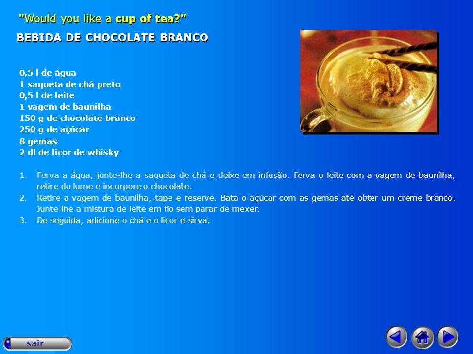 BEBIDA DE CHOCOLATE BRANCO