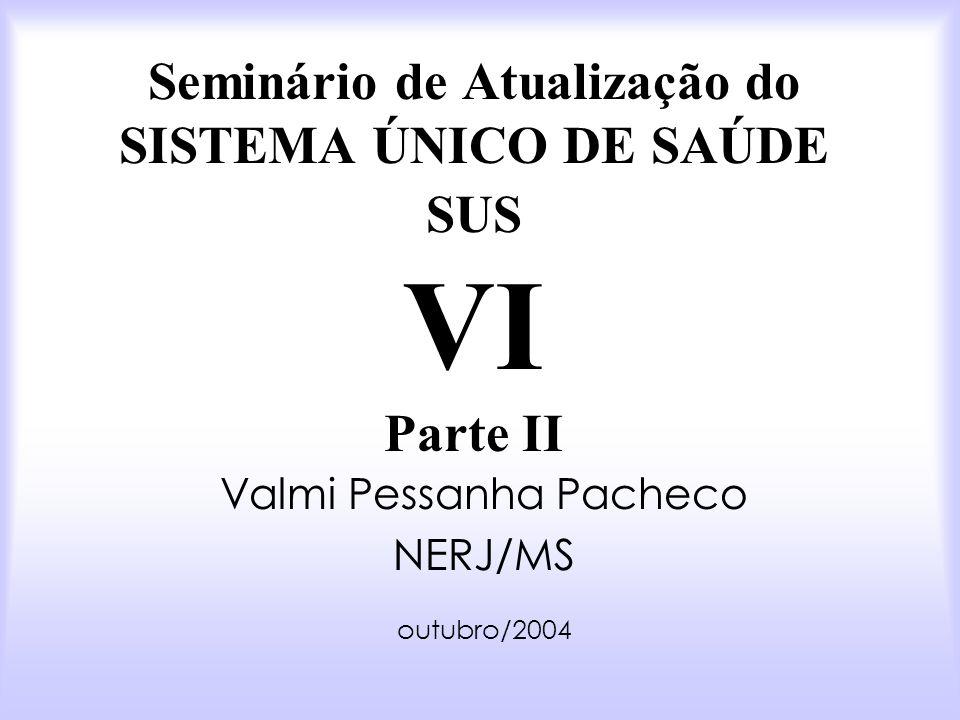 Seminário de Atualização do SISTEMA ÚNICO DE SAÚDE SUS VI Parte II