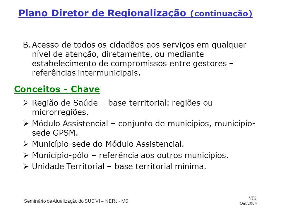 Plano Diretor de Regionalização (continuação)