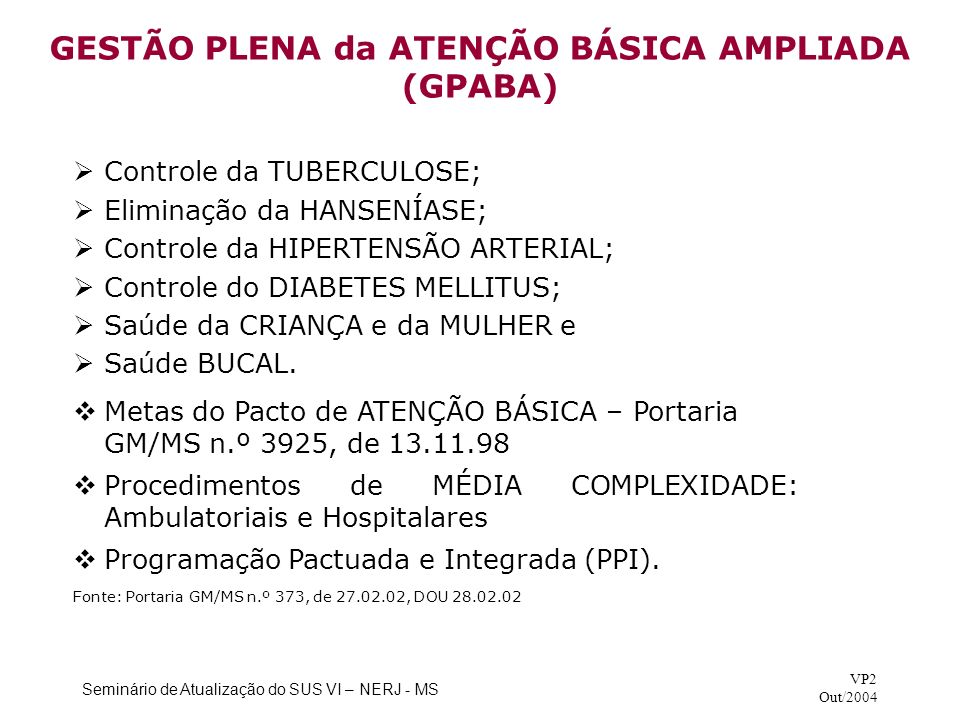 GESTÃO PLENA da ATENÇÃO BÁSICA AMPLIADA (GPABA)
