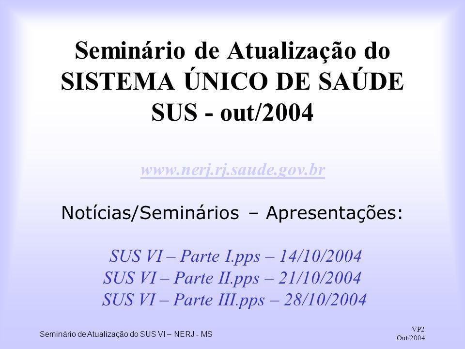 Seminário de Atualização do SISTEMA ÚNICO DE SAÚDE SUS - out/2004 www
