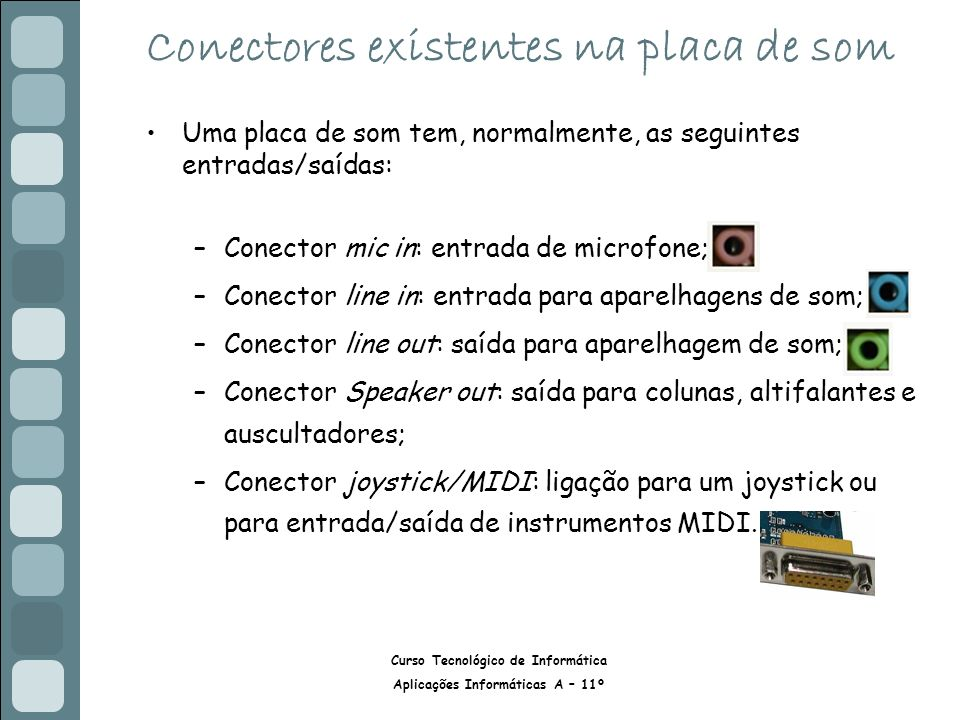 Conectores existentes na placa de som
