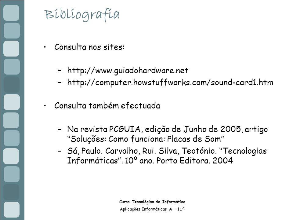Bibliografia Consulta nos sites: http://www.guiadohardware.net