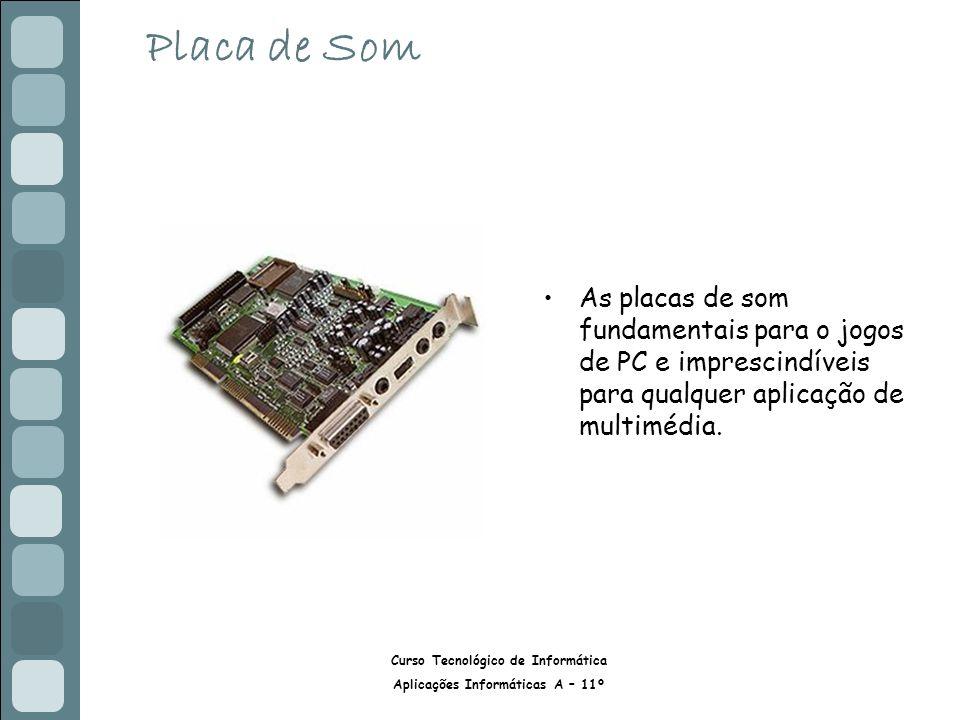 Placa de Som As placas de som fundamentais para o jogos de PC e imprescindíveis para qualquer aplicação de multimédia.