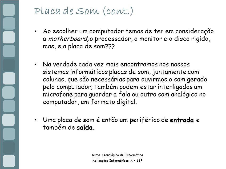 Placa de Som (cont.)