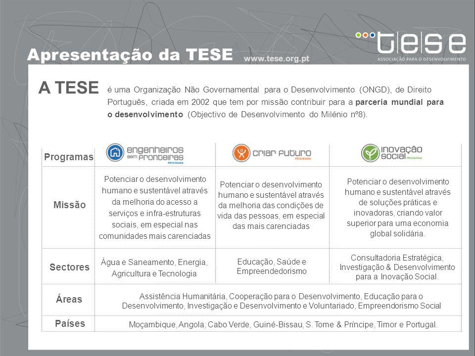 A TESE Apresentação da TESE Programas Missão Sectores Áreas Países