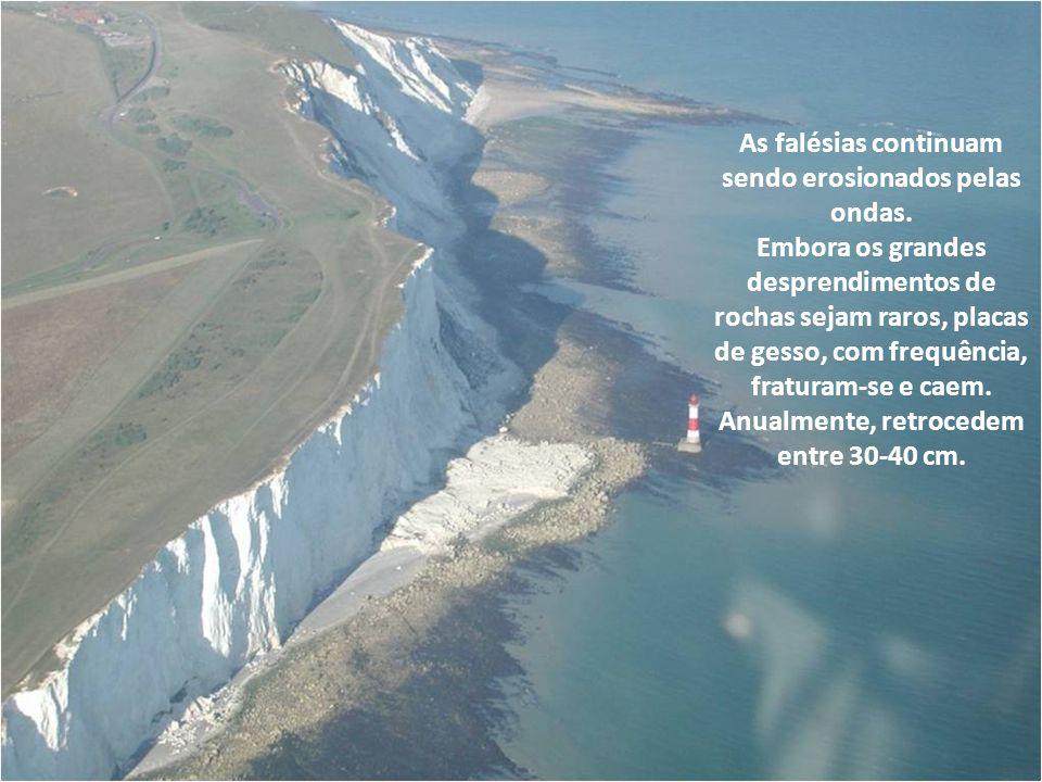 As falésias continuam sendo erosionados pelas ondas