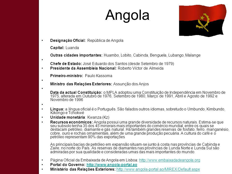 Angola Designação Oficial: República de Angola Capital: Luanda Outras cidades importantes: Huambo, Lobito, Cabinda, Benguela, Lubango, Malange.