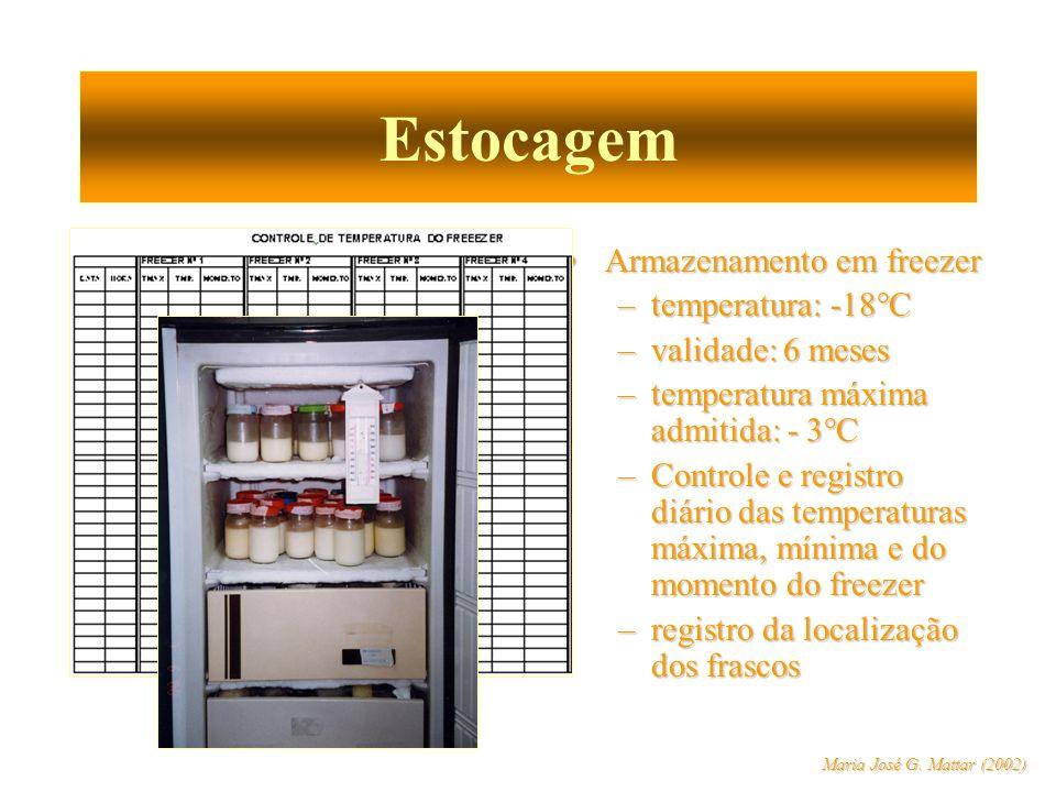Estocagem Armazenamento em freezer temperatura: -18°C