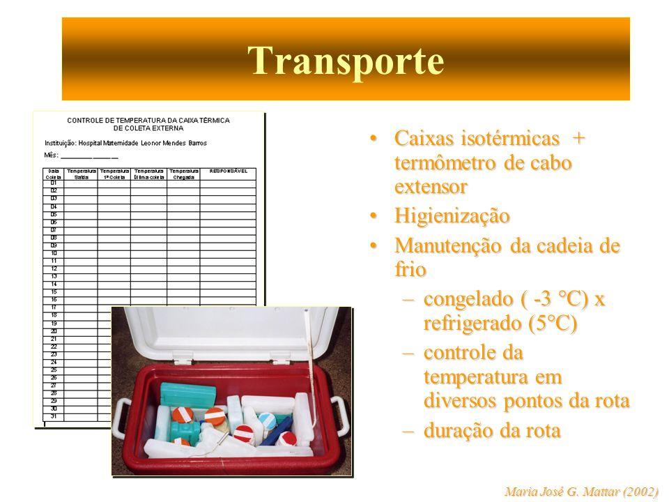 Transporte Caixas isotérmicas + termômetro de cabo extensor