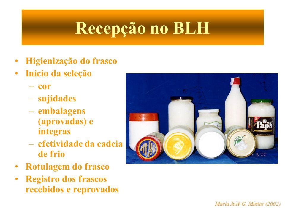 Recepção no BLH Higienização do frasco Início da seleção cor sujidades