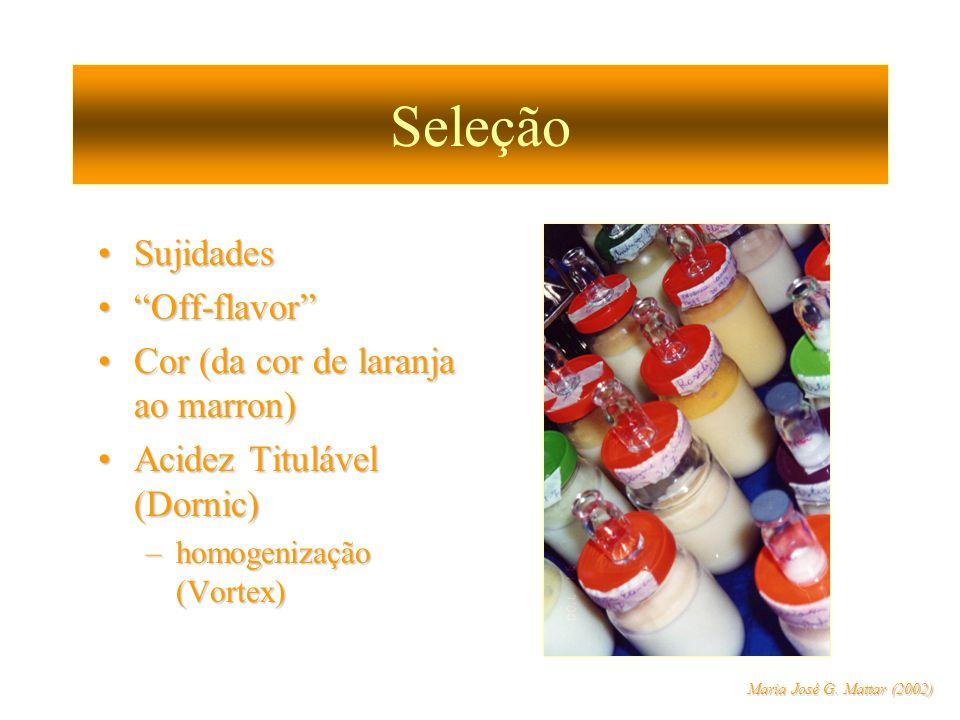 Seleção Sujidades Off-flavor Cor (da cor de laranja ao marron)