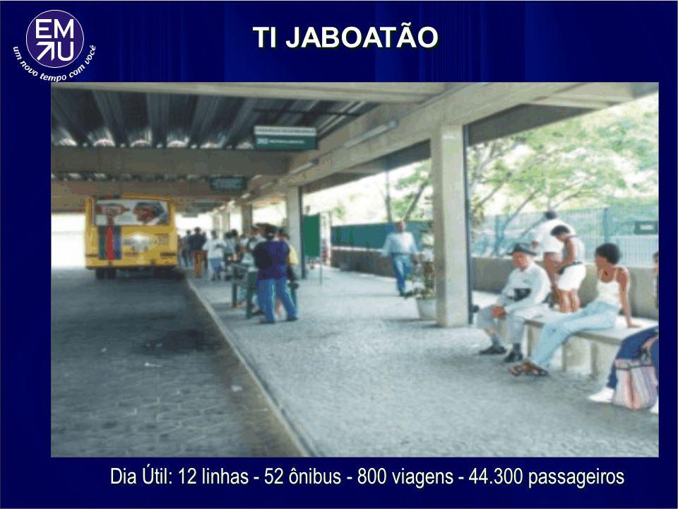 Dia Útil: 12 linhas - 52 ônibus - 800 viagens - 44.300 passageiros