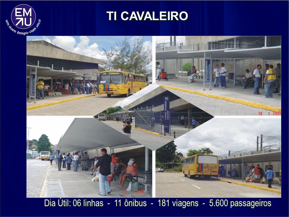 Dia Útil: 06 linhas - 11 ônibus - 181 viagens - 5.600 passageiros