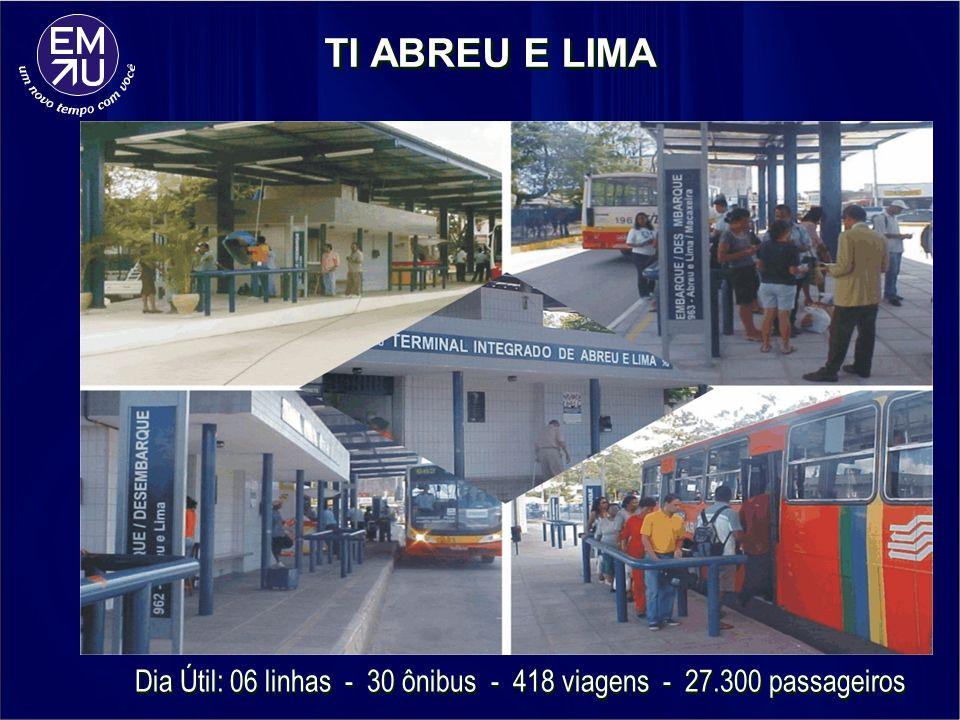 Dia Útil: 06 linhas - 30 ônibus - 418 viagens - 27.300 passageiros