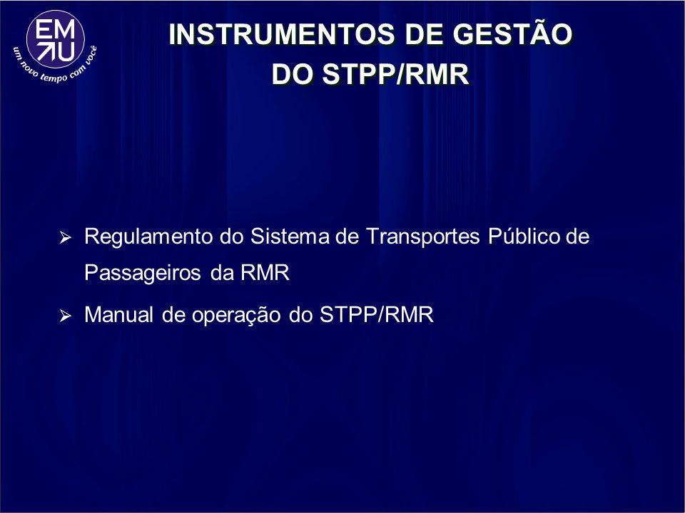 INSTRUMENTOS DE GESTÃO DO STPP/RMR