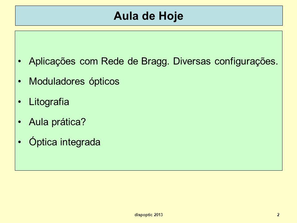 Aula de Hoje Aplicações com Rede de Bragg. Diversas configurações.