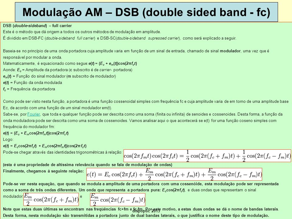 Modulação AM – DSB (double sided band - fc)
