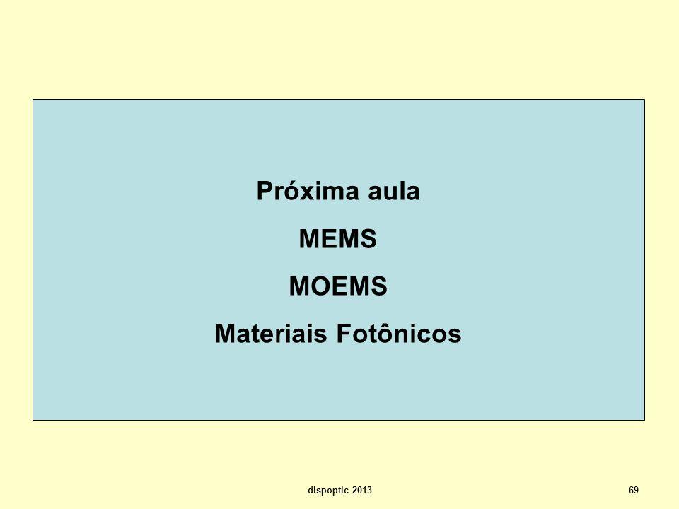 Próxima aula MEMS MOEMS Materiais Fotônicos