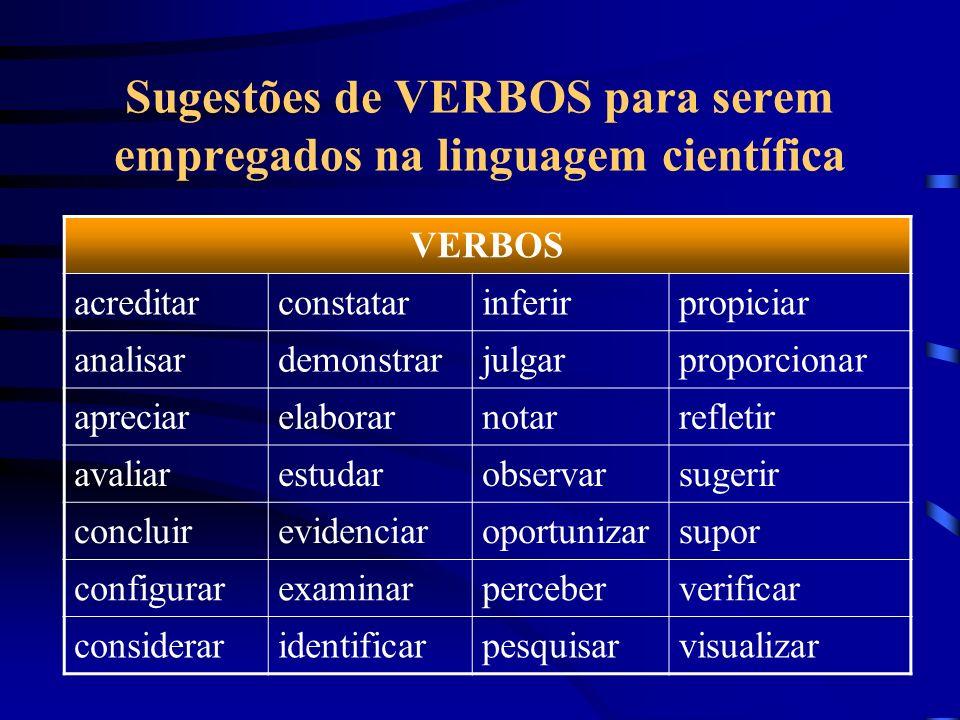 Sugestões de VERBOS para serem empregados na linguagem científica