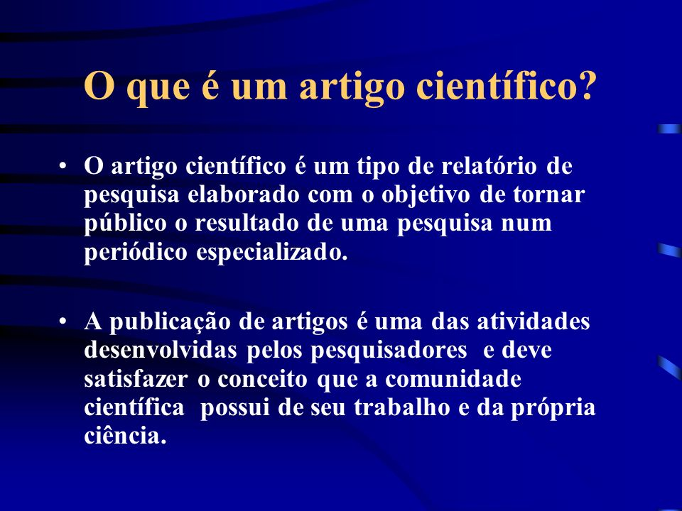 O que é um artigo científico