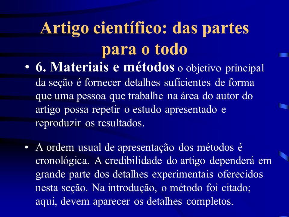 Artigo científico: das partes para o todo