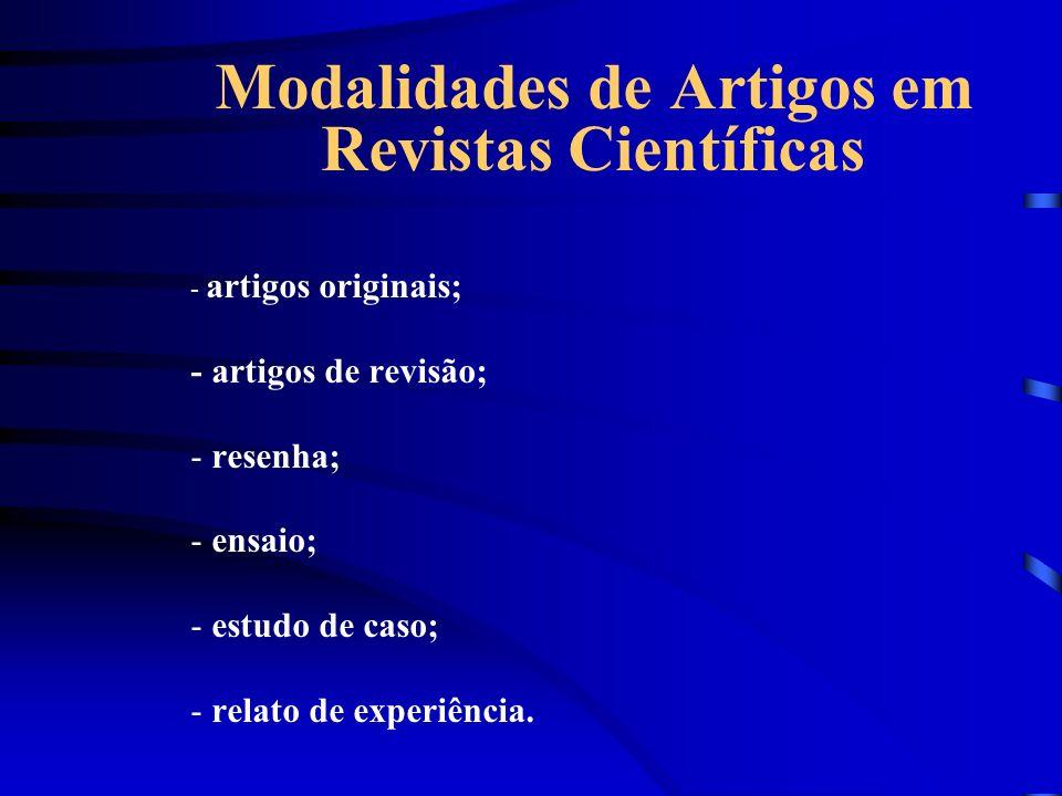 Modalidades de Artigos em Revistas Científicas