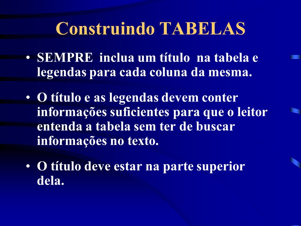 Construindo TABELAS SEMPRE inclua um título na tabela e legendas para cada coluna da mesma.