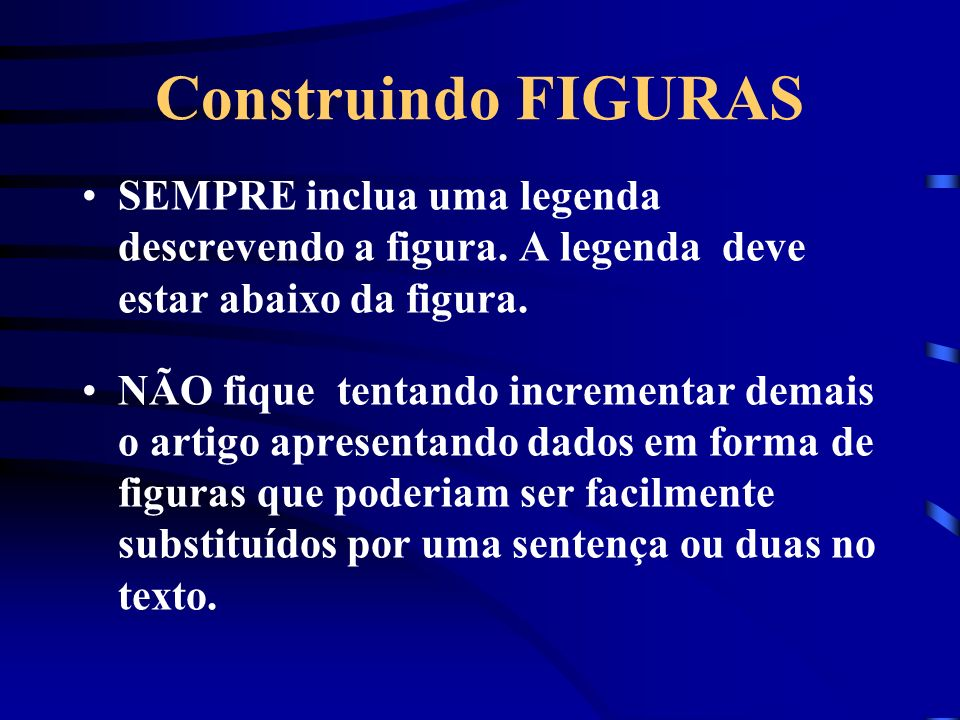 Construindo FIGURAS SEMPRE inclua uma legenda descrevendo a figura. A legenda deve estar abaixo da figura.