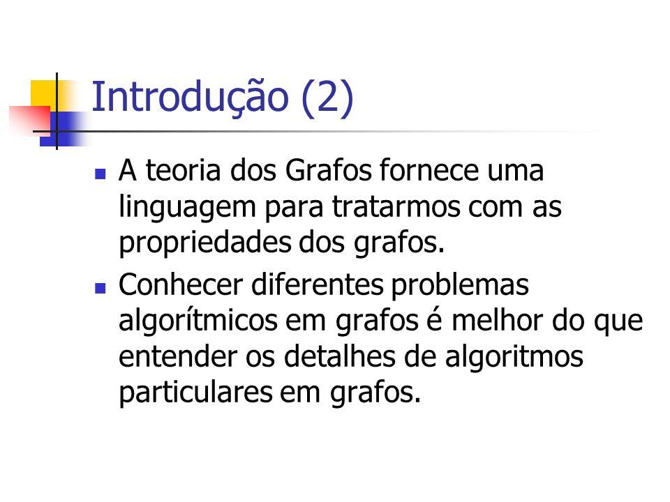 Introdução (2) A teoria dos Grafos fornece uma linguagem para tratarmos com as propriedades dos grafos.