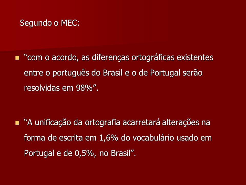 Segundo o MEC: com o acordo, as diferenças ortográficas existentes entre o português do Brasil e o de Portugal serão resolvidas em 98% .