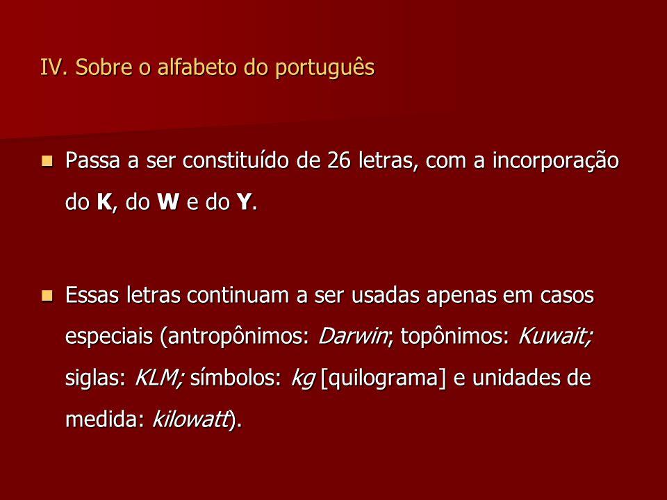 IV. Sobre o alfabeto do português
