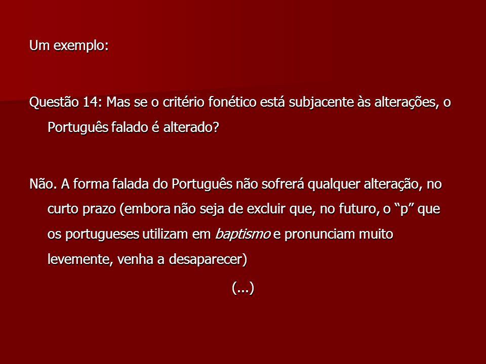 Um exemplo: Questão 14: Mas se o critério fonético está subjacente às alterações, o Português falado é alterado