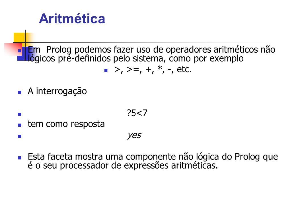 Aritmética Em Prolog podemos fazer uso de operadores aritméticos não lógicos pré-definidos pelo sistema, como por exemplo.