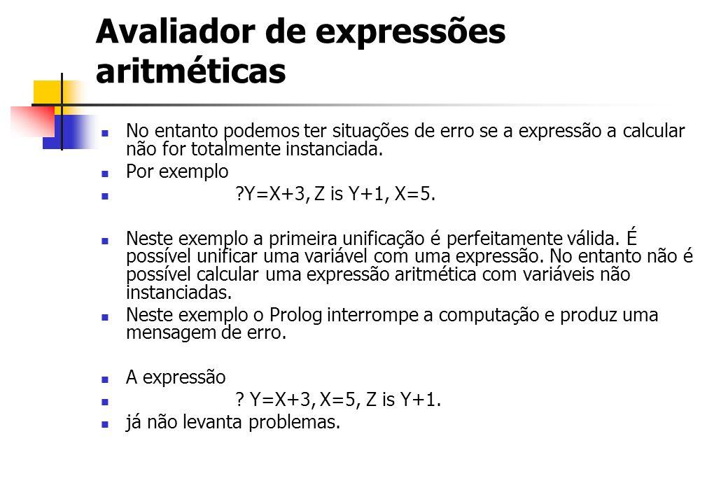 Avaliador de expressões aritméticas