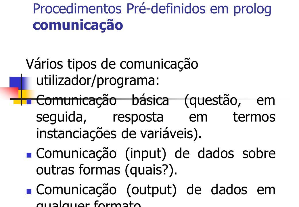 Procedimentos Pré-definidos em prolog comunicação