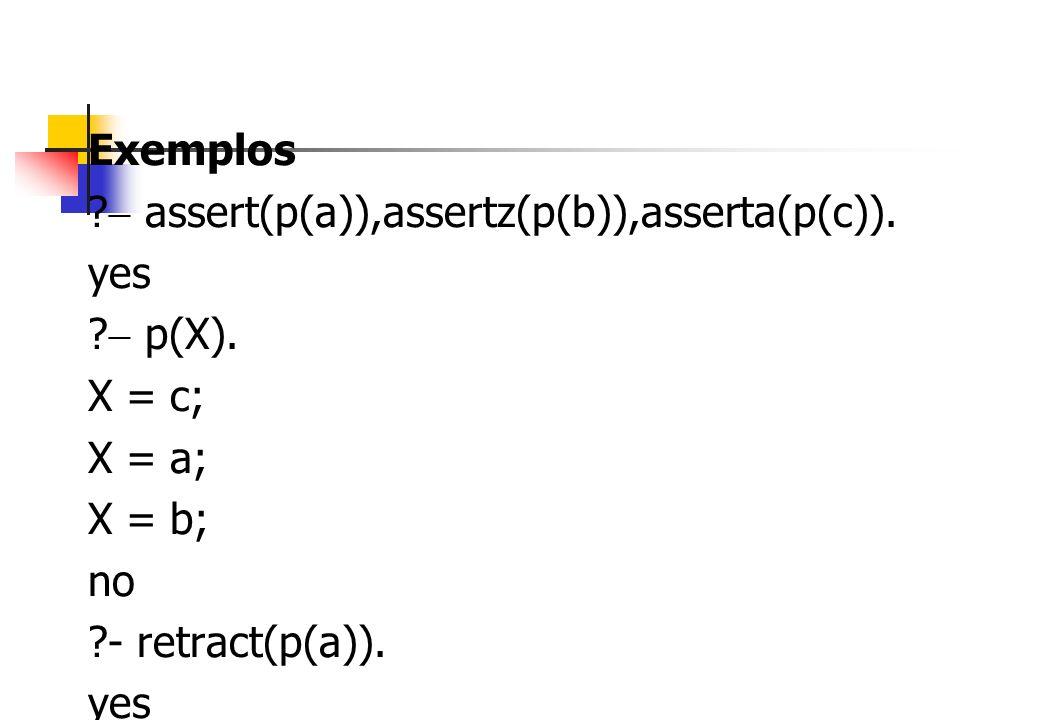 Exemplos  assert(p(a)),assertz(p(b)),asserta(p(c)).