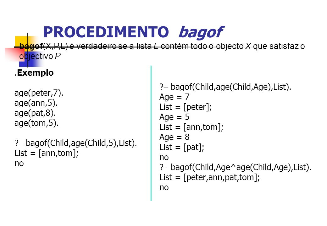 PROCEDIMENTO bagof bagof(X,P,L) é verdadeiro se a lista L contém todo o objecto X que satisfaz o objectivo P.