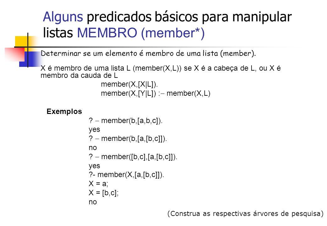 Alguns predicados básicos para manipular listas MEMBRO (member*)